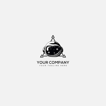 技術ロゴ、宇宙飛行士ロゴ、ヘルメット宇宙飛行士、三角形技術ロゴ