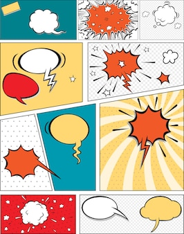 漫画のスピーチの泡と漫画のストリップの背景