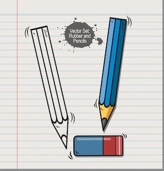 Векторный набор ластик и карандашей