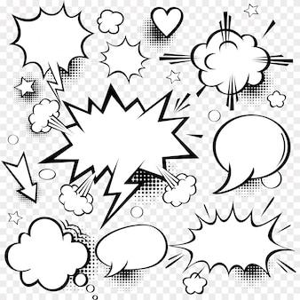 Набор комиксов пузырей и элементов с полутоновых теней.
