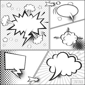 漫画泡とハーフトーンシャドウを持つ要素のセット