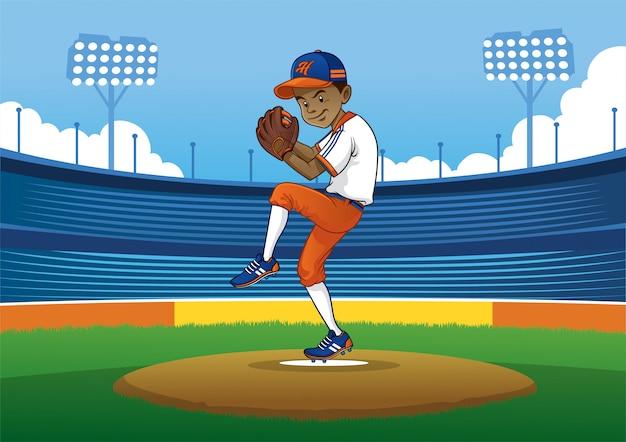 Бейсбол кувшин готов к броску мяча