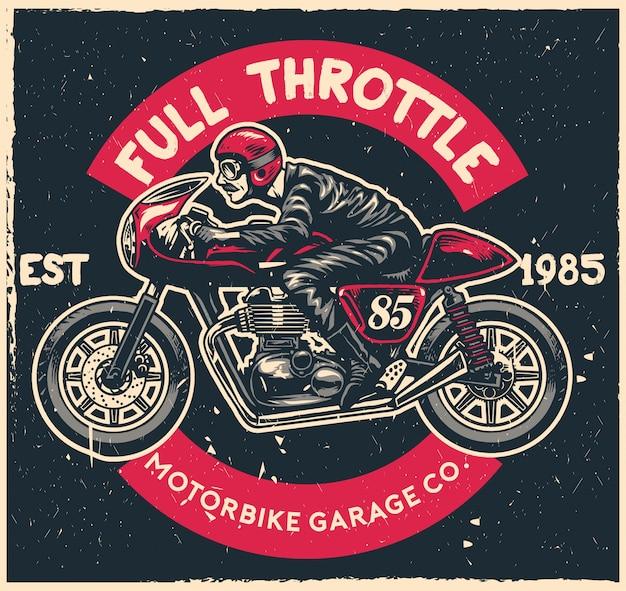 Кафе гонщик мотоцикл в стиле рисования рук