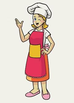 Счастливый веселый женский шеф-повар в фартуке