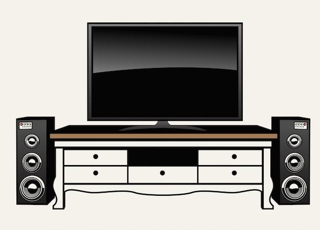 巨大なフラットテレビとオーディオシステム