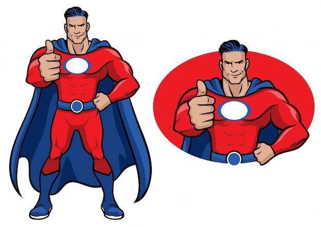 スーパーヒーローの親指アップ