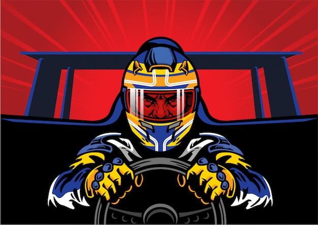 Гонщик за рулем автомобиля быстро