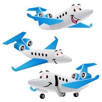 プライベートジェット飛行機のキャラクターのセットのバンドル漫画
