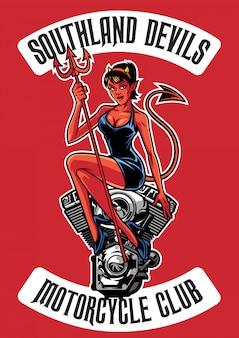 オートバイのエンジンを持つセクシーな悪魔