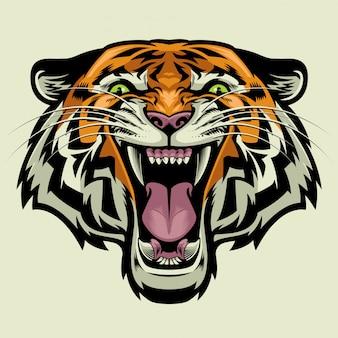 Злая голова тигра в сложном детализированном стиле