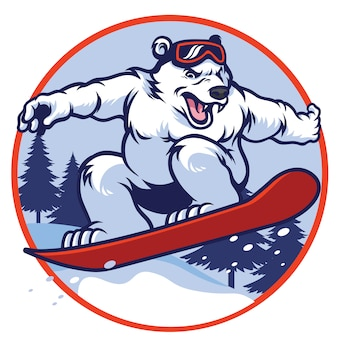 Белый медведь со сноубордом