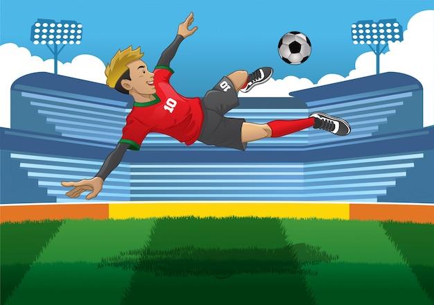 Футболист делает прыжок залпом