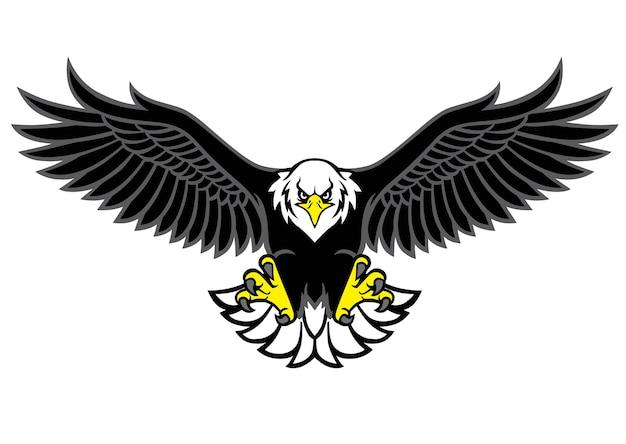 鷲のマスコットが翼を広げる