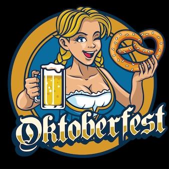 セクシーなバイエルンの女の子がプレッツェルとビールを持っています