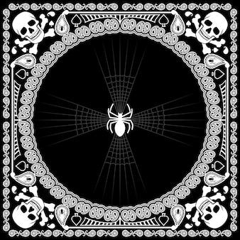 Бандана с узором черепа и паука