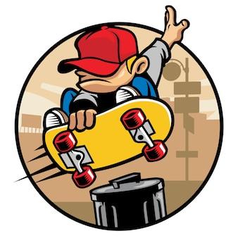 スケーターの男の子がゴミ箱にゴミ箱をつけている