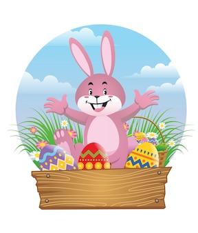 イースターエッグと幸せなウサギ