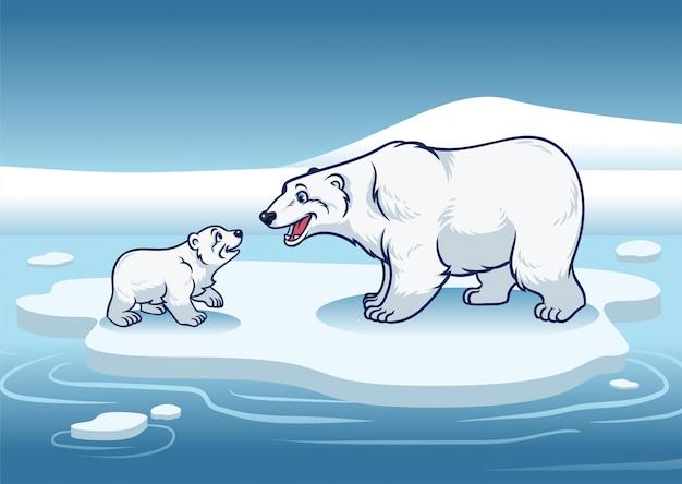 ホッキョクグマと彼女の子供が氷の上に立っています。