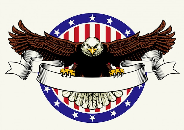 Американский белоголовый орлан держит пустую ленту для текста