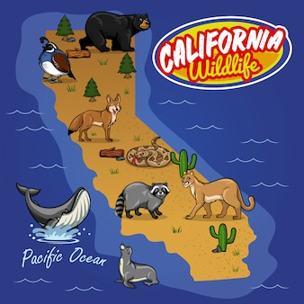 動物の野生生物のカリフォルニアの地図