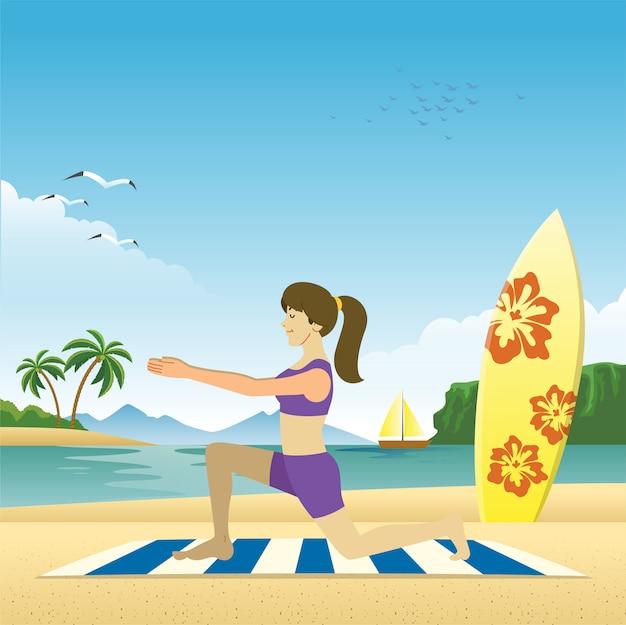 女の子はビーチでヨガをする