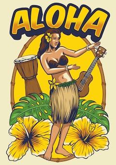 Винтажная гавайская танцующая девушка