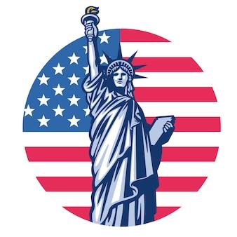 アメリカ合衆国の旗の背景を持つ自由の女神像