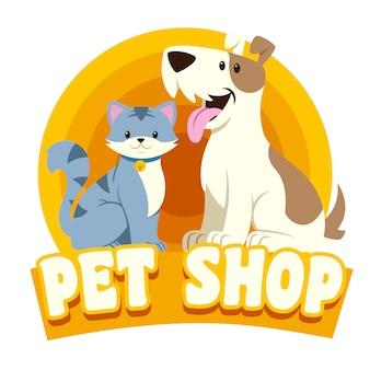 猫と犬のペットショップのロゴ