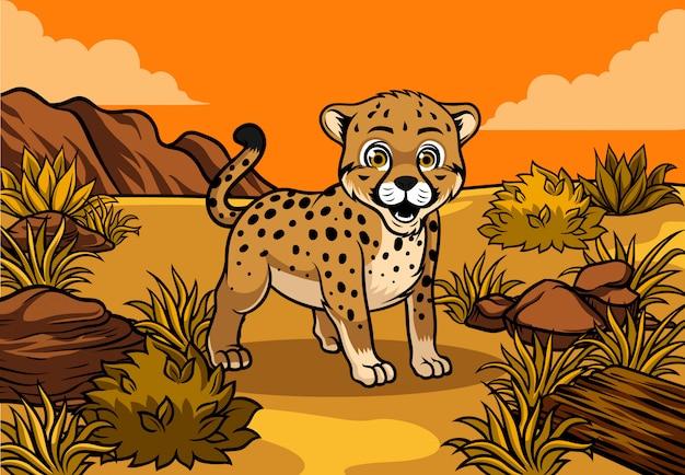 Молодой гепард в саванне