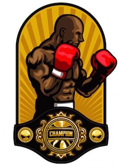 ボクシグチャンピオンベルトでボクサーポーズ