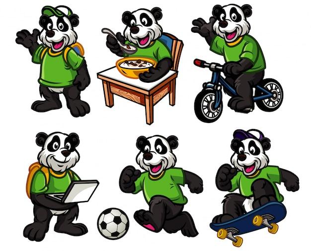Набор персонажей мультфильма милой маленькой панды