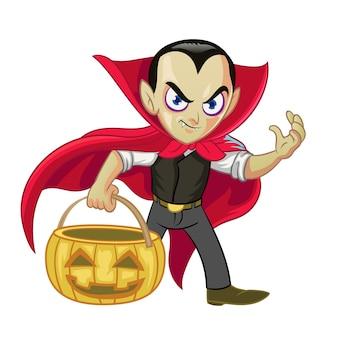 ドラキュラの漫画のキャラクターは、ハロウィーンのカボチャを保持します。