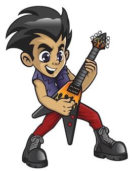 エレクトリックギターを弾く小さなロッカー少年