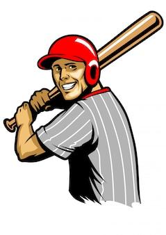 野球選手がボールを打つ準備ができて