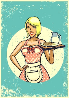 Винтажная сексуальная официантка представляет завтрак
