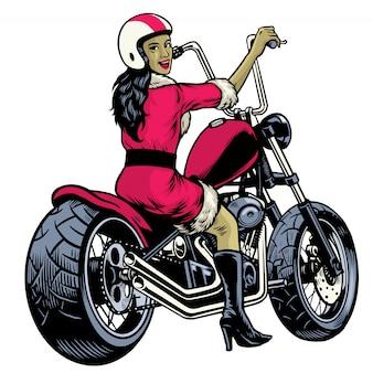 サンタクロースの衣装に身を包んだ女性を描くとチョッパーバイクに乗って