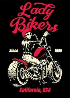 Леди байкер чоппер мотоцикл дизайн футболки