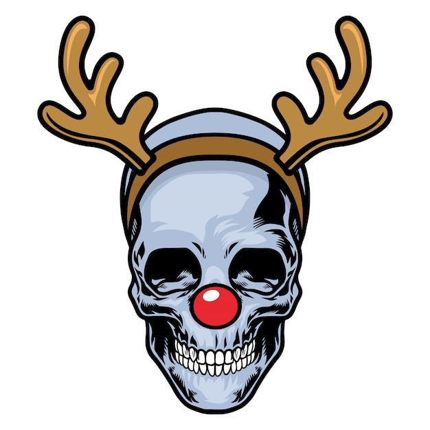 赤い鼻とトナカイのヘッドバンドを身に着けている頭蓋骨