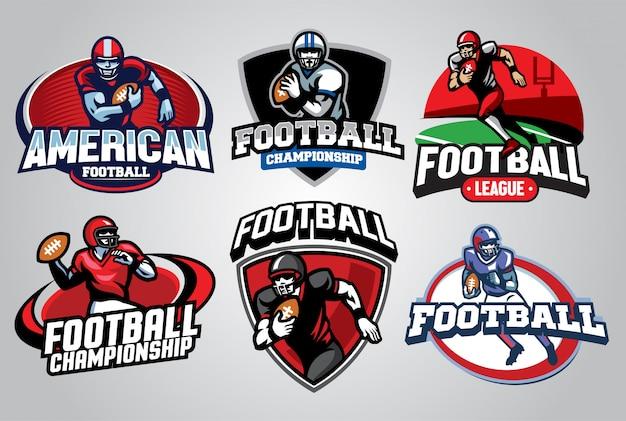 アメリカンフットボールのロゴデザインセット