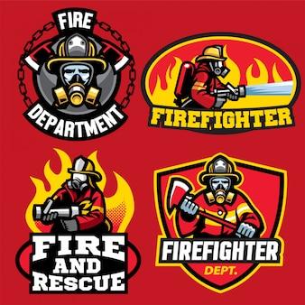 消防士のロゴデザインのセット