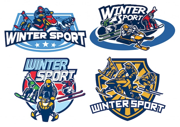 Набор зимних игр дизайн логотипа