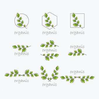 有機の葉のロゴ