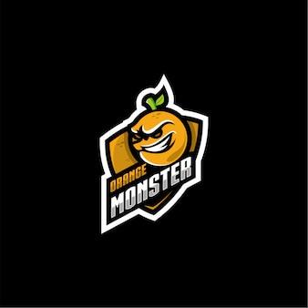 Оранжевый монстр дизайн логотипа