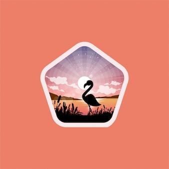 Пеликан озеро дизайн логотипа