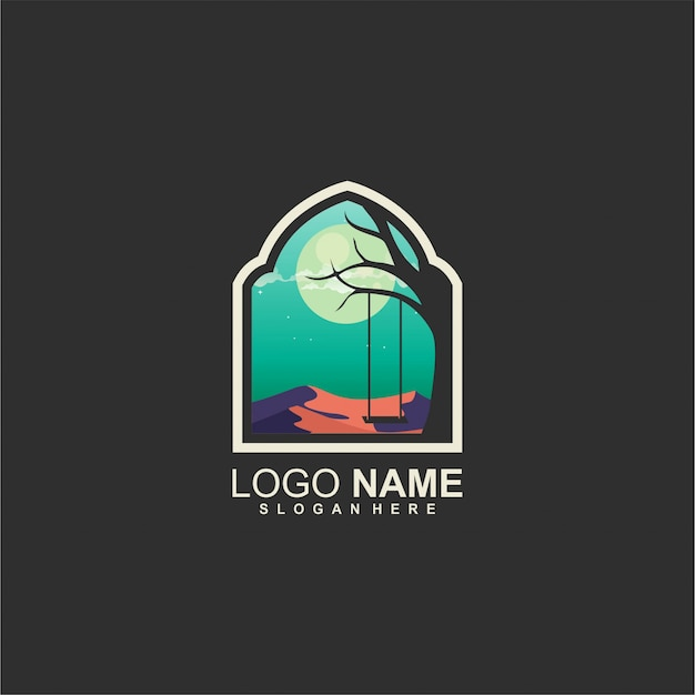 Луна и дерево дизайн логотипа