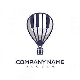 Логотип пианино-воздушный шар