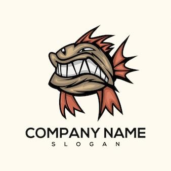 ピラニア魚のロゴ
