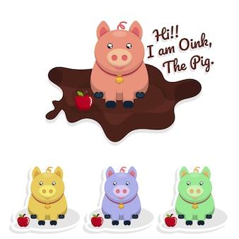 背景のためのかわいい豚キャラクター