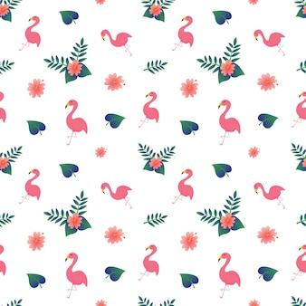 Симпатичный фламинго с цветочным узором