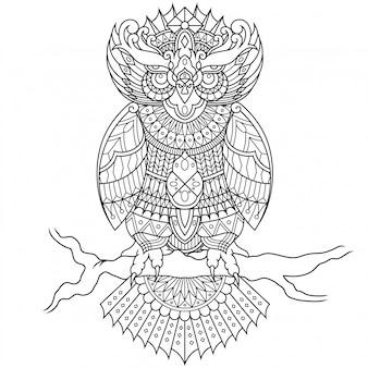 直線的なスタイルのフクロウ